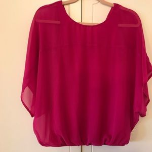 Express Fuchsia Flutter Sleeve Ruched Top